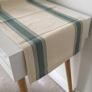 100% Cotton Table Runner | Ivory and Teal Striped